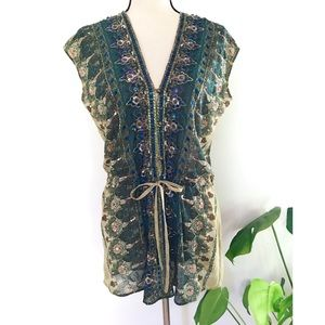 EUC B. Vintage Beaded Paisley Boho Tunic Dress M